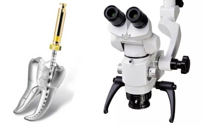 Leczenie kanałowe pod mikroskopem.